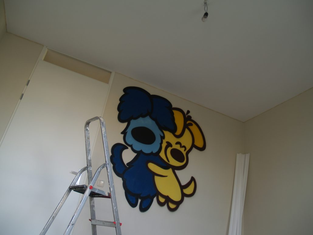 Graffiti kinderkamer Woezel en Pip