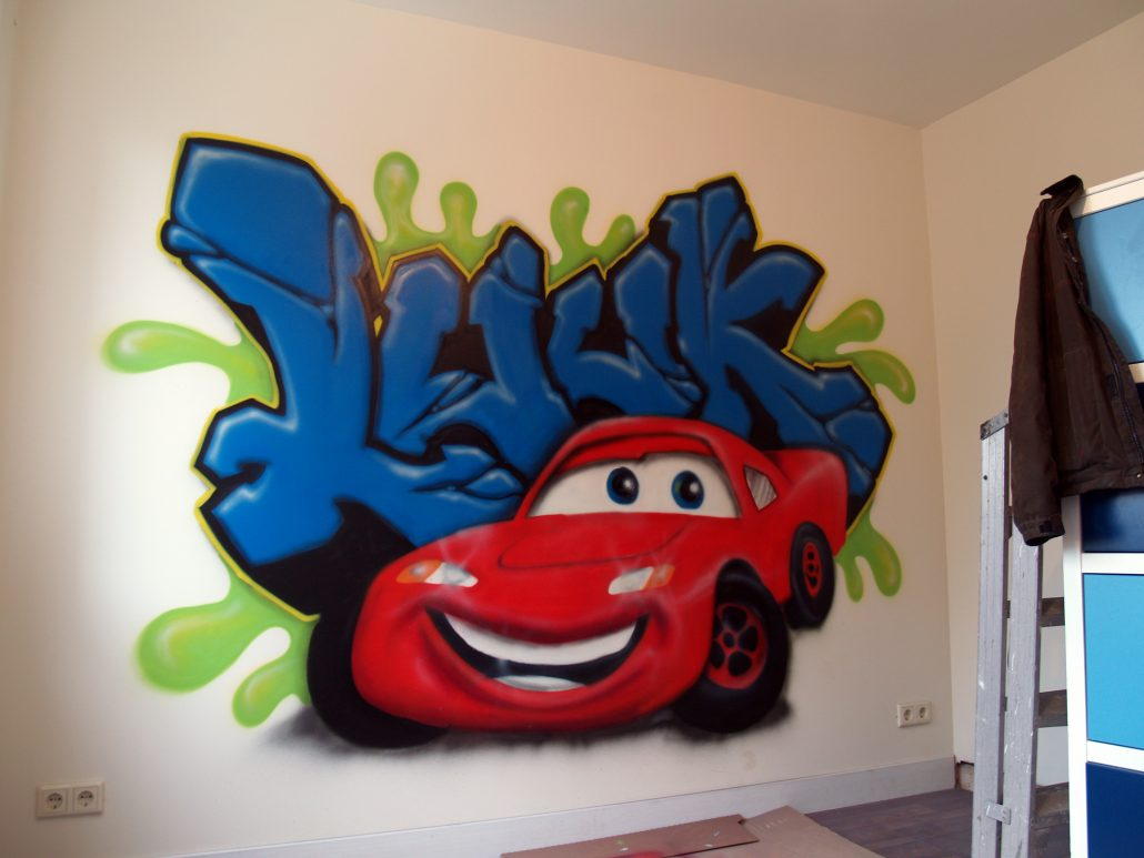 Graffiti muurschilderingen kinderkamer