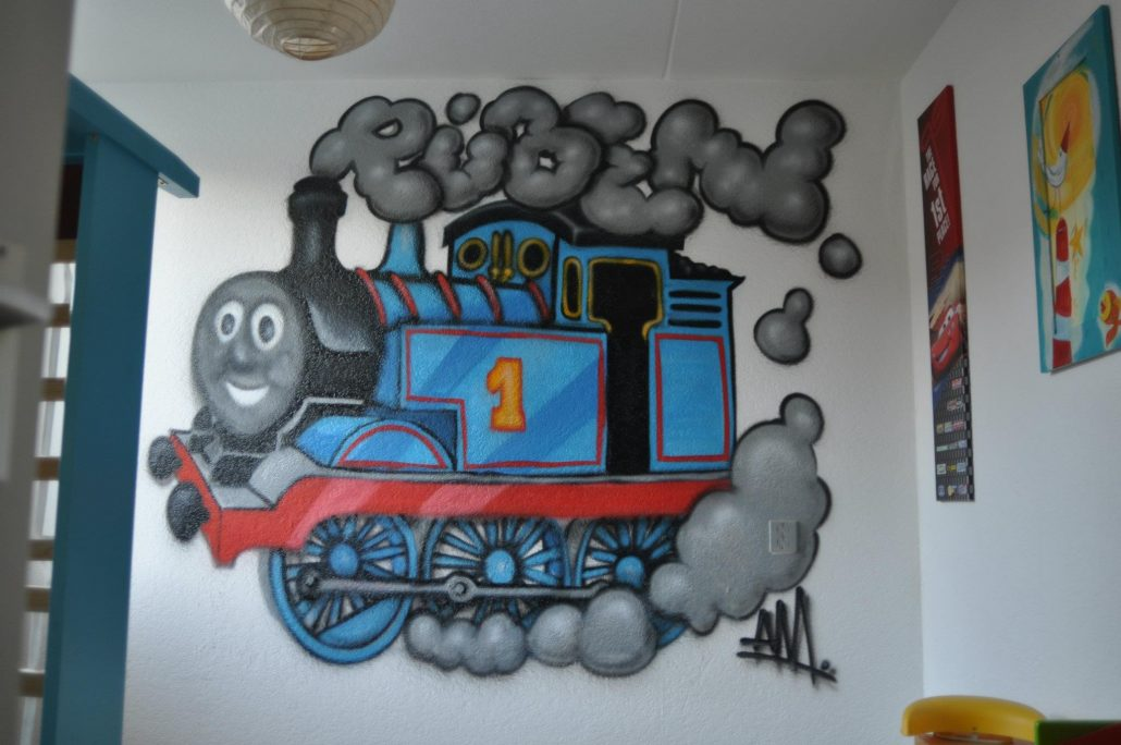 Muurschilderingen kinderkamer thomas de trein